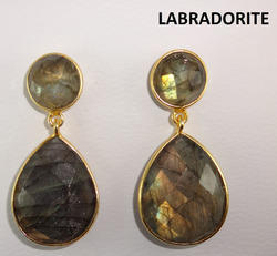 Labradorite Bezel Set Gemstone Earring