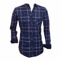 Men Cotton Full Sleeve Check Shirt