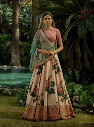 Fabzone Designer Giant Rose Floral Printed Lehenga