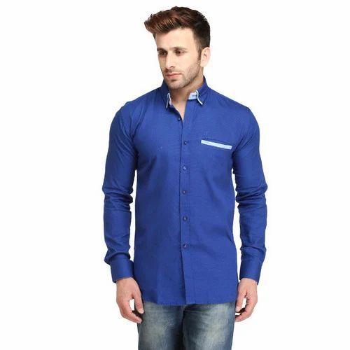 80845be35b Cotton Plain Royal Blue Full Sleeve Shirt