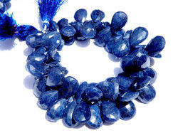 Dyed Blue Sapphire Faceted Pear Briolettes