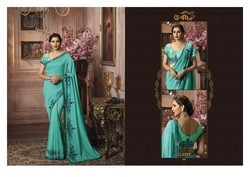 Palav Fabrics Heavy Work Party Wear Sarees.palav Fabrics Heavy Work Embroidery Partywear Sarees
