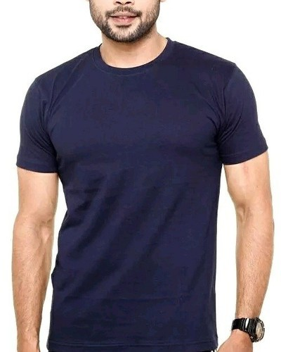 ac98e6379b7 Cotton Round Downtown Fashion Mens Plain Half Sleeve T Shirt Navy Blue