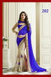 Blue Georgette With Off White Saree