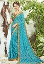 Georgette Border Designer Saree With Blouse Piece