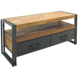 Industrial Reclaimed Wood Iron 2 Drawer TV Unit
