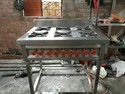Commercial Six Burner Gas Stove with Counter
