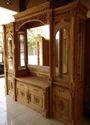 Natural Brown Storage Cabinets Wooden Teakwood Showcase