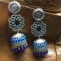 Oxidized Enamel Jhumki Earrings