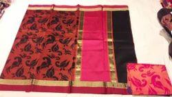 Cock Weaving Kora Silk Saree