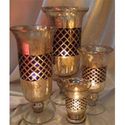 Silver Look Black Diamond Candle Holder