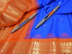 Temple New Arrival Of Garhwal Silk Handwoven Small Stones Buta Saree
