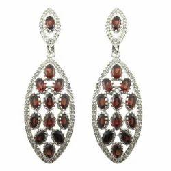 Silver Brown Garnet Gemstone American Diamond Earring, Size: 58x14 Mm