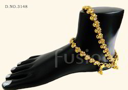 Traditional Antique Stone Studded Anklets
