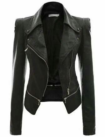 Black Full Sleeve Ladies Leather Jackets, Size: Large