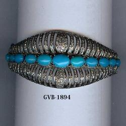 Turquoise Stone Pave Diamond Bangle