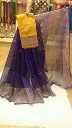 Plain Festive Wear Silk Cotton Sarees, With Blouse Piece