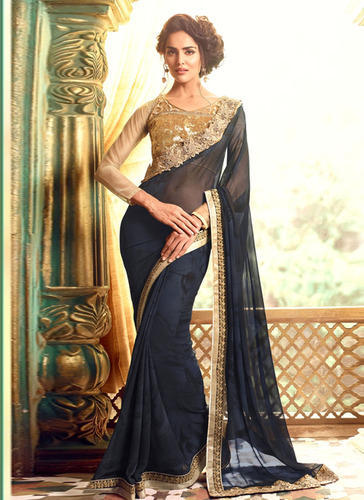 a91797c80f Lace Border With High Neck Saree High Neck Blouse With Black Georgette  Party Wear Saree