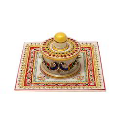 Marble Dry Fruit Tray Handicraft