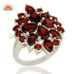 925 Sterling Silver Natural Garnet Ring