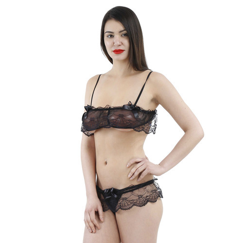 f7f8cac3ede Solid Lace Sexy Lingerie Set at Rs 195  set