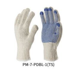 Poly / Cotton Knitted Seamless Gloves with PVC Dots