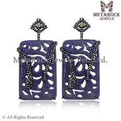 Designer Pave Diamond Carving Snake Earrings