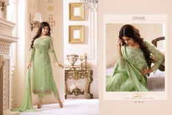 Glossy Simar Colour Plus Georgette Straight cut Pakistani Suits