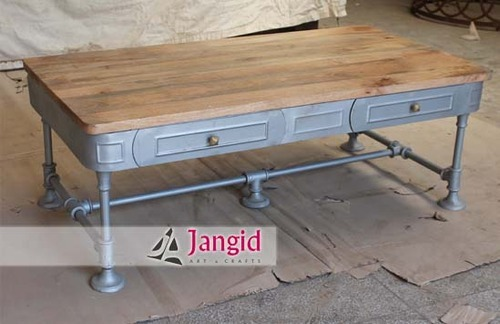 Jangid Art & Crafts Indian Industrial Coffee Table, Size: 130x68x47 Cms