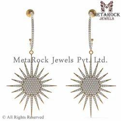 Pave Setting 14k Yellow Gold Diamond Earring