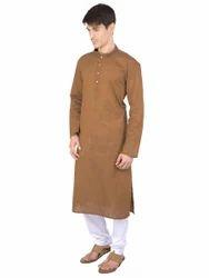 Rajubhai Hargovindas Mens Brown Cotton Kurta
