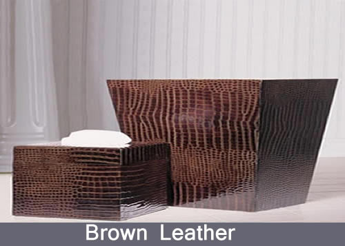 Brown Leather Bath Accessories