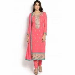 Szva Rts Pink Teal Georgette Suit Set