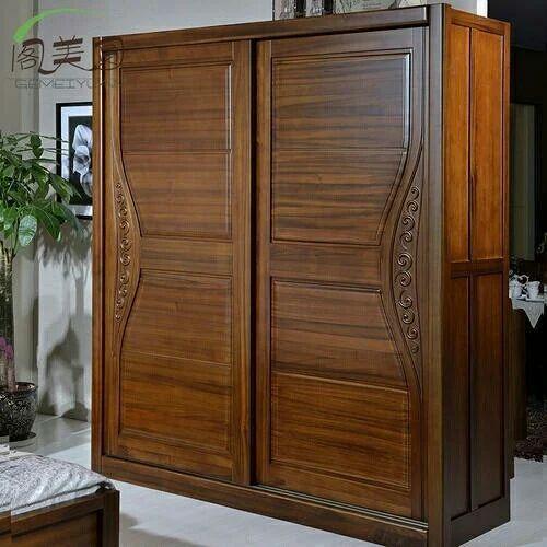 Teakwood Sliding Wardrobe, Number Of Doors: Double Door