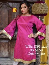 Cotton, Silk Party Wear Cotton Silk Dress, Packaging Type: Carton