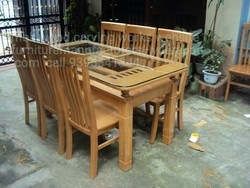 MBK Natural Teak Wood Dining Table, Size/Dimension: 5x3 Inch