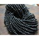 Natural Black Spinel Rondelle Beads Faceted