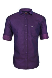 Cotton Plain Purple Party Wear Shirt, Size: Small