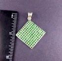 Silver Emerald Charm Pendant