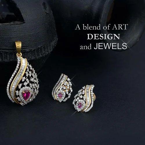 313686997 Designer Diamond Pendant Set, Diamond Pendant Set | Karol Bagh ...