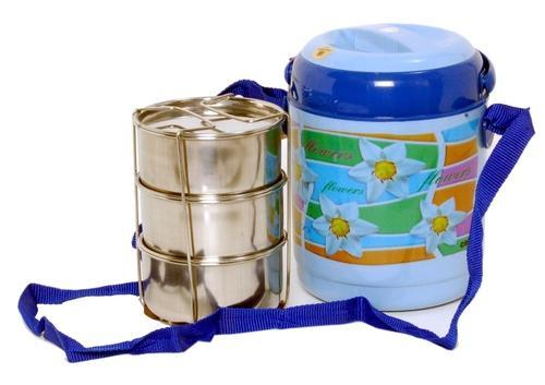 Multicolor Round Insulated Tiffin, Size: Medium