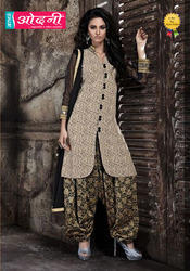 Ladies Embroidered Semi-Stitched Suits, Size: L
