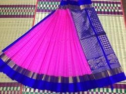Pink and Blue Kuppadam Silk Cotton Saree