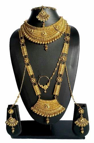 51b6dd89d NMJ Alloy Gold Plated Kundan Bridal Jewellery Set, Rs 1500 /set | ID ...