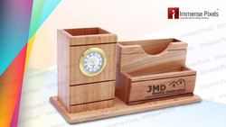 Custom-Made Brown Wooden Pen Stand with Logo Engraving, For Office