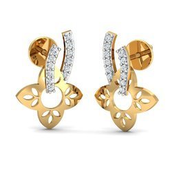 Golden 14K Diamond Earring