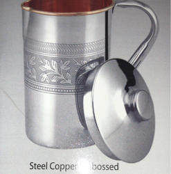 Metal Round Copper Steel Emboss Jug, Size: 1.5 Ltr, Packaging Type: Single Box Pack