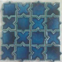 Blue Ceramic Wall Handmade Tile, Packaging Type: Box