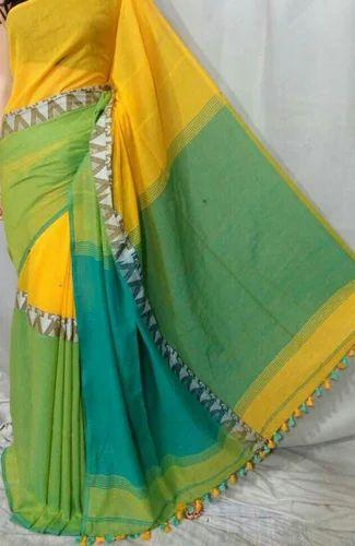 Printed 100 Pure Handloom Cotton Khadi Soft Cotton Saree With