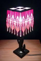 Sq Pyramid Large Wooden Table Lamp